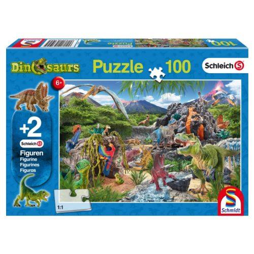 puzzel-schleich-in-het-rijk-van-de-dinosauriers-100-stukjes