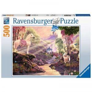 puzzel-ravensburger-sprookjesachtige-idylle-bij-het-meer-500-stukjes